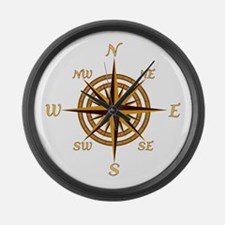 Vintage Compass Rose Large Wall Clock