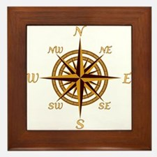 Vintage Compass Rose Framed Tile