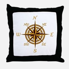 Vintage Compass Rose Throw Pillow
