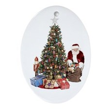 Santa tree Oval Ornament