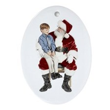 Santa boy Oval Ornament