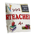 Teachers Do It With Class Burlap Throw Pillow