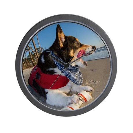 Corgi Licking his Chops Wall Clock