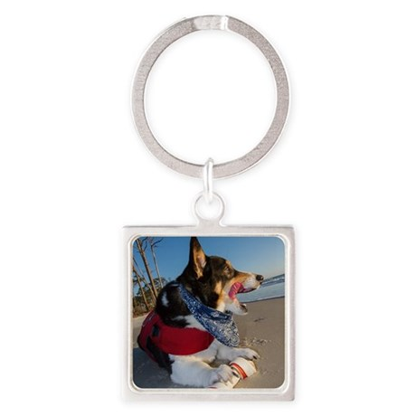 Corgi Licking his Chops Square Keychain