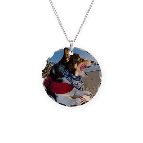 Corgi Licking his Chops Necklace Circle Charm