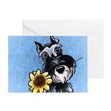 Sunny Schnauzer Blue Greeting Card