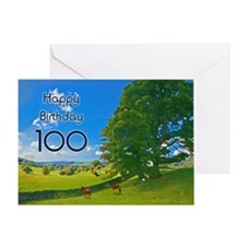 100th Birthday card with landscape Greeting Card