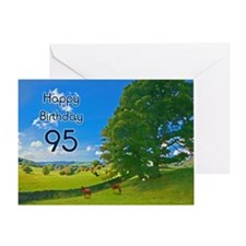 95th Birthday card with landscape Greeting Card