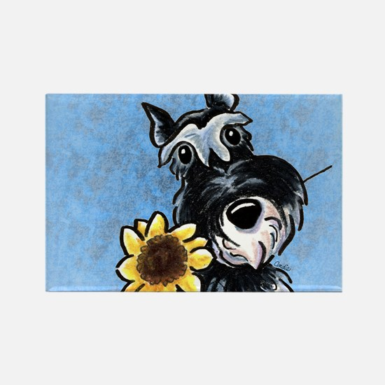 Sunny Schnauzer Blue Rectangle Magnet