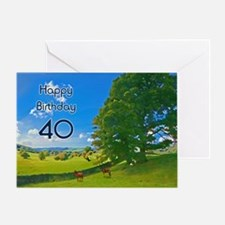 40th Birthday card with landscape Greeting Card