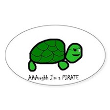Pirate Turtle Oval Decal
