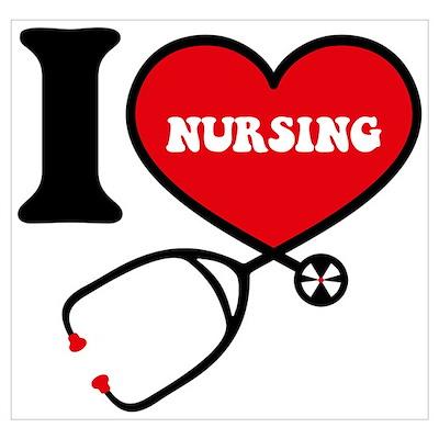 I Love Nursing Wall Art Poster