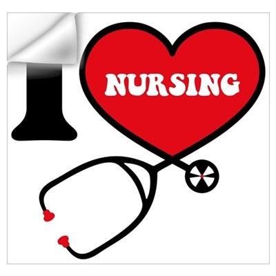 I Love Nursing Wall Art Wall Decal