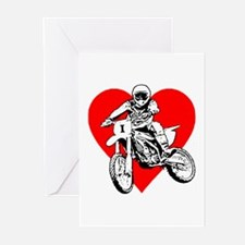 I love dirt biking with a red heart Greeting Cards