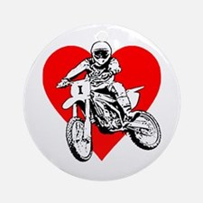 I love dirt biking with a red heart Ornament (Roun
