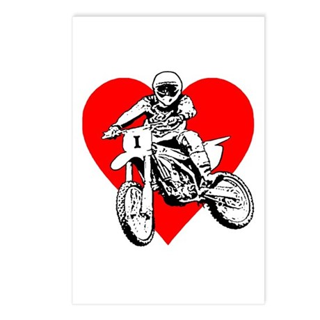 I love dirt biking with a red heart Postcards (Pac
