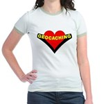 Geocaching Heart Jr. Ringer T-Shirt
