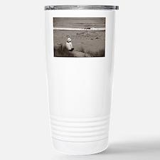 Watching The Ocean (bw) Travel Mug