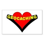 Geocaching Heart Rectangle Sticker