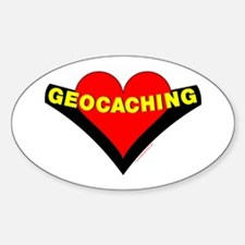 Geocaching Heart Oval Decal