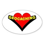 Geocaching Heart Oval Sticker