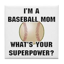 Baseball Mom Superhero Tile Coaster