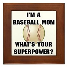 Baseball Mom Superhero Framed Tile