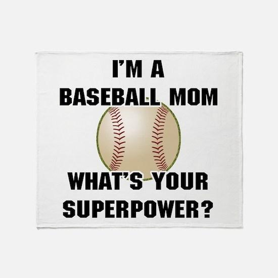 Baseball Mom Superhero Throw Blanket