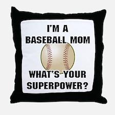 Baseball Mom Superhero Throw Pillow