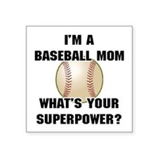 "Baseball Mom Superhero Square Sticker 3"" x 3"""