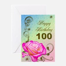 100th Birthday Elegant rose Greeting Card