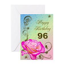 96th Birthday Elegant rose Greeting Card