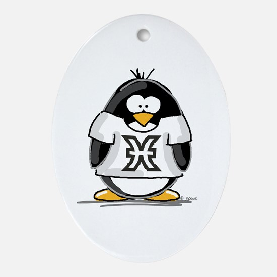 Pisces Penguin Oval Ornament