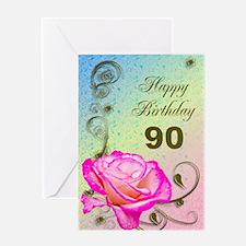 90th Birthday Elegant rose Greeting Card