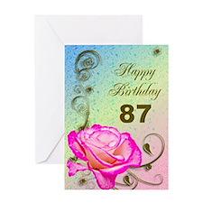 87th Birthday Elegant rose Greeting Card