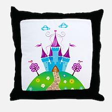 Blue Fairytale Castle Throw Pillow