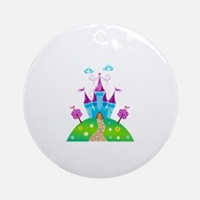 Blue Fairytale Castle Ornament (Round)