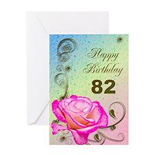 82nd Birthday Elegant rose Greeting Card