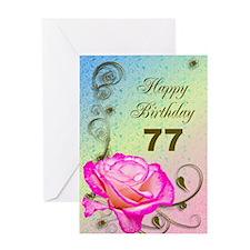 77th Birthday Elegant rose Greeting Card