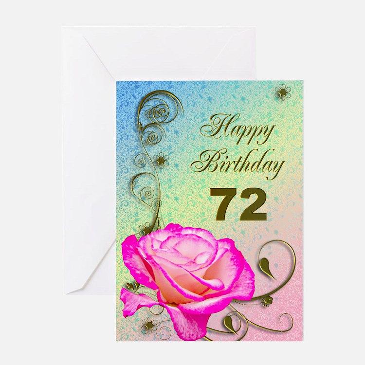 72nd Birthday Elegant rose Greeting Card