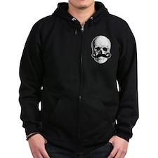 Mustache Skull Zip Hoodie