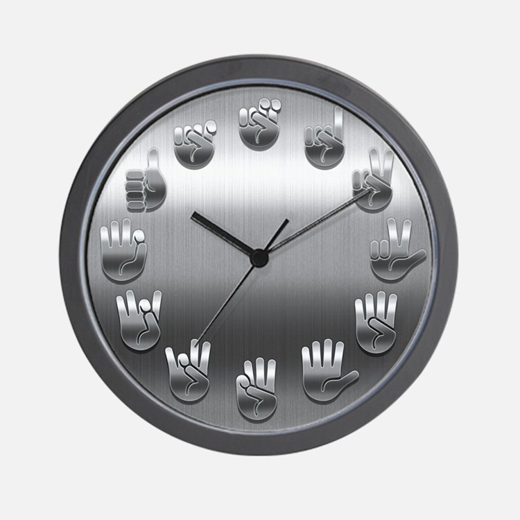 Brushed Steel Signed Wall Clock