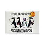 Penguins with Weapons Rectangle Magnet