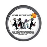Penguins with Weapons Wall Clock