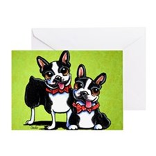 Bostons Wearing Bowties Greeting Card