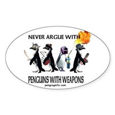 Penguins with Weapons Oval Stickers