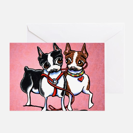 Bostons Leashed Greeting Card