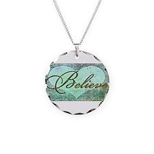 believe teal heart Necklace