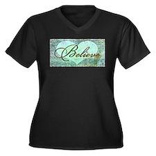 believe teal heart Plus Size T-Shirt