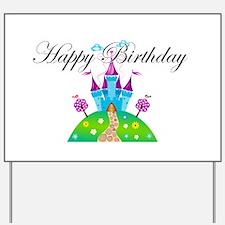 Happy Birthday Blue Fairy Tale Castle Yard Sign